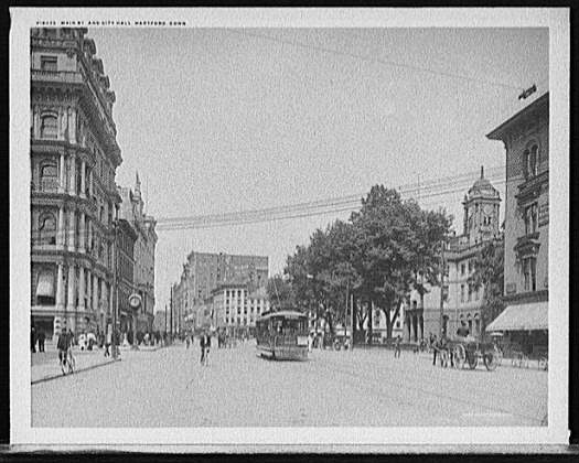 A view of the buildings and people on Main St. in Hartford, Connecticut, c1905.