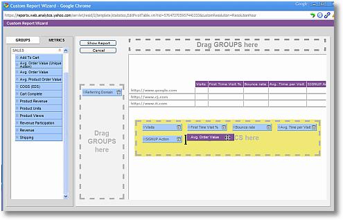 yahoo web analytics custom report sm