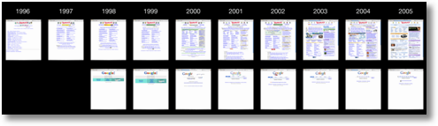 yahoo google home page evolution 1