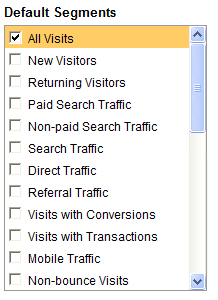 google analytics default segments
