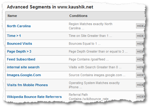 analytics segments kaushik.net