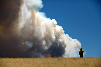Theresa Mendoza, a fire public information officer, in front of smoke from the Wallow fire in Springerville, Ariz.