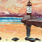 'Lake Superior Lighthouse' painting by Minnesota artist Kourtney Hammerschmidt