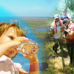 Collage of a marsh, girl drinking, and USGS employees using a stream gage.