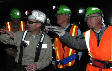 Secretary Salazar and Senator Bingaman in the Potash Mine