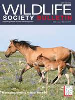 December 2011 Wildlife Society Bulletin cover with photo of wild horse mare and foal