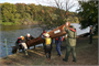 Wilderness Inquiry Staff & USACE Park Rangers launch canoes into the Potomac river for an upcoming DC Middle School class trip on the Potomac River.