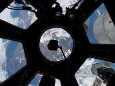 This unusual image, photographed through the Cupola on the International Space Station by one of the Expedition 30 crew members, is centered over Turkey.
