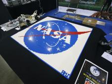 The NASA meatball takes shape brick by brick thanks to hundreds of pieces of LEGO.