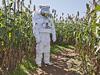 NASA staff member in mock astronaut suit