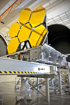 The first six flight ready James Webb Space Telescope's primary mirror segments are prepped to begin final cryogenic testing at NASA's Marshall Space Flight Center in Huntsville, Ala.