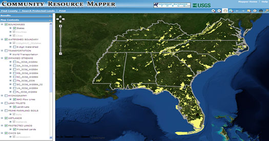 Community Resource Mapper application screen capture. [Copyright: Southeast Watershed Forum]