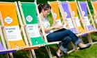 Woman reading at Hay festival