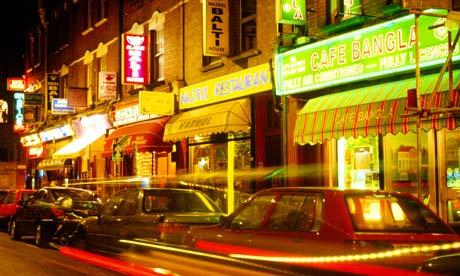 Curry houses on Brick Lane, east London