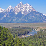 View of Teton Range from Snake River Overlook on sunny summer day.