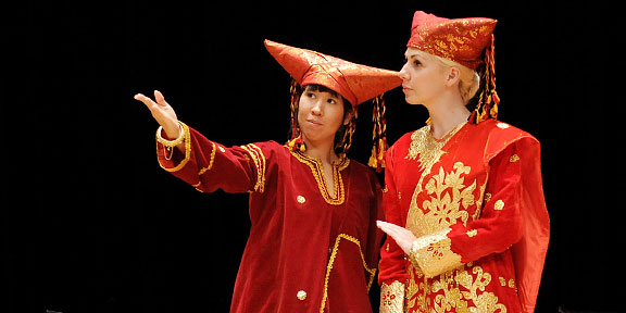 Two actors in a scene from The Genteel Sabai, and Indonesian randai folk-drama performance