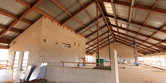 interior shot of construction in progress at UH West Oahu