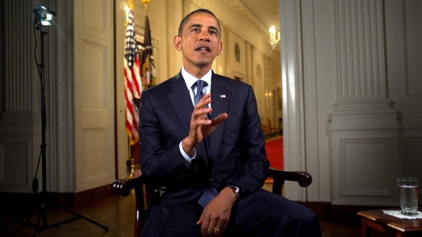 President Barack Obama tapes the Weekly Address