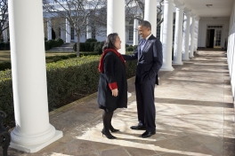President Barack Obama talks with Tina Tchen, Chief of Staff to the First Lady, on the Colonnade of the White House, Jan. 10, 2012. (Official White House Photo by Pete Souza)