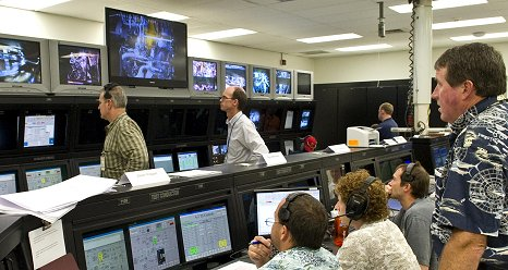 Engineers and technicians in the A2 Test Control Center at Stennis Space Center in southern Mississippi monitor activities during a Nov. 9 test of a next-generation J2X rocket engine.