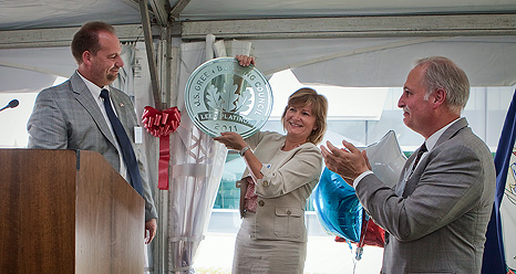 Ribbon-cutting ceremony for LEED Platinum building 2101