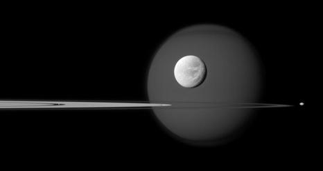 A quartet of Saturn's moons