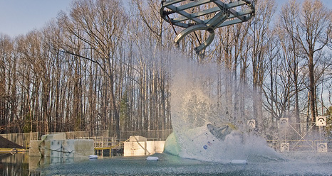 Orion test article water landing drop test at Hydro Impact Basin