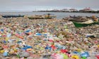 Manila Bay covered with plastic bags and rubbish