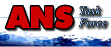 red capital letters ANS with smaller blue