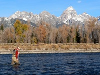 Hydrologic technician measuring discharge on the Snake River at Moose, Wyoming.