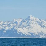 Mountains towering above the mouth of the Copper River from the coastal Gulf of Alaska.
