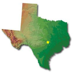 Image of Texas with a star pinpointing the location of the capital.