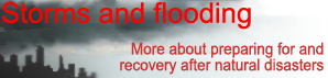 Storms and flooding, more on preparing for and recovery after natural disasters