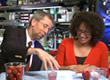 Drs. Eric Green and Carla Easter demonstrate how to extract DNA from strawberries