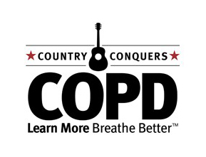 Black and white logo: Country Conquers COPD - Learn more, breathe better