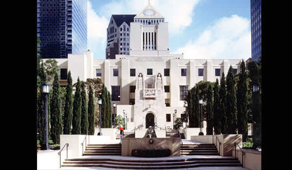Exterior of the Lost Angeles Central Public Library building