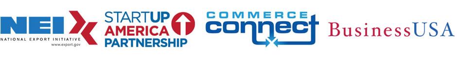 Partnership Logos: Startup America, Commerce Connect, NEI