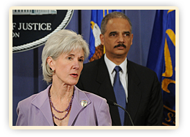 Secretary Kathleen Sebelius and Attorney General Eric Holder speak at the Regional Fraud Prevention Summit in Detroit.