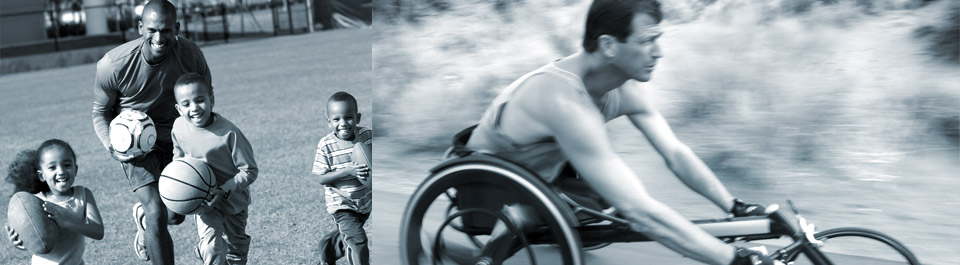 Photo of a dad and his kids running while holding a soccer ball, football, and basketball and a photo of a man using a hand cycle