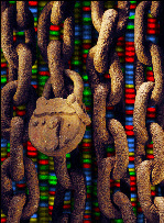 Art image of chains and over DNA microarray