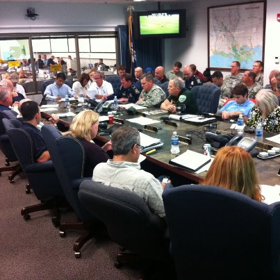 Photo: Baton Rouge, Louisiana, August 29, 2012 -- Louisiana Governor Bobby Jindal leads the Louisiana Unified Coordination meeting in response to Hurricane Isaac. To his right is FEMA Administrator Craig Fugate, who is on the ground in Louisiana to meet with state and local officials as Isaac moves through the area.  The latest Isaac update from FEMA can be found on our blog: http://www.fema.gov/blog/hurricanes.