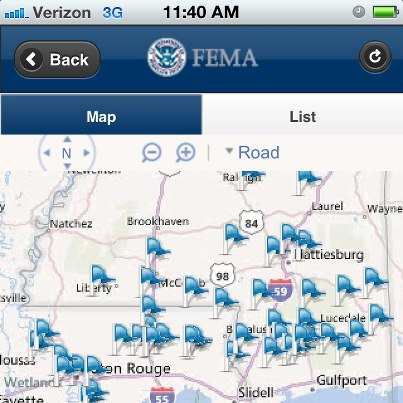 Photo: Shelters are currently open in several Gulf Coast states in response to Hurricane Isaac. One place you can find shelter locations is the FEMA app.  Here's a screenshot showing open shelters in Mississippi and Louisiana as of 12:30 p.m. EDT, August 30.  The FEMA app is available for Android, Apple, and Blackberry devices: https://www.fema.gov/smartphone-app.