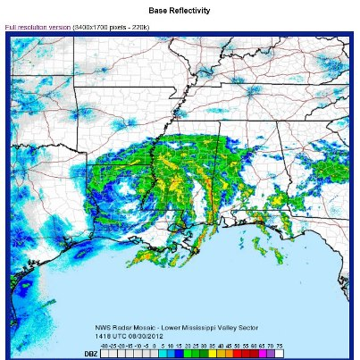 Photo: Rains from Isaac continue for much of the Gulf Coast region. A few flood safety reminders:    - After a flood, return home when authorities indicate it is safe. Don't drive or walk through flooded roads *turn around, don't drown*  - Almost half of all flash flood deaths happen in vehicles. When driving, watch for flooding in low lying areas or at bridges & highway dips.  - Visit www.Ready.gov/floods or http://m.fema.gov/floods.htm on your phone for more flood safety tips.  (Radar image courtesy of U.S. National Weather Service, 2:30 p.m. EDT, August 30.)