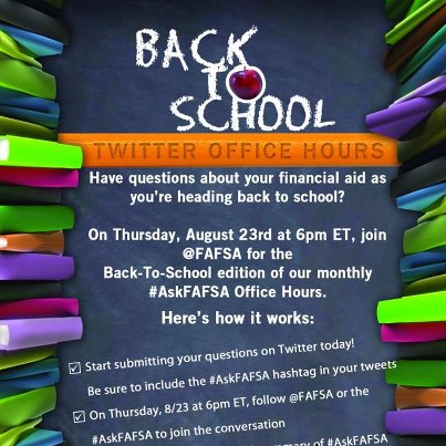 Photo: TOMORROW: #AskFAFSA Office Hours on Twitter at 6pm ET.   Time's a-ticking. Have you sent us your financial aid question yet? Tweet us your question using #AskFAFSA or add it in the comment box below!