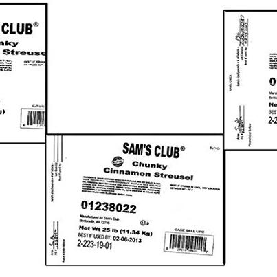 Photo: http://go.usa.gov/rdhW  Dawn Food Products, Inc. is recalling 251, 25-pound buckets of Sam's Club Chunky Cinnamon Streusel because it may contain undeclared milk and soy allergens. People who have an allergy or severe sensitivity to specific type of allergens may run the risk of serious or life-threatening allergic reaction if they consume these products.