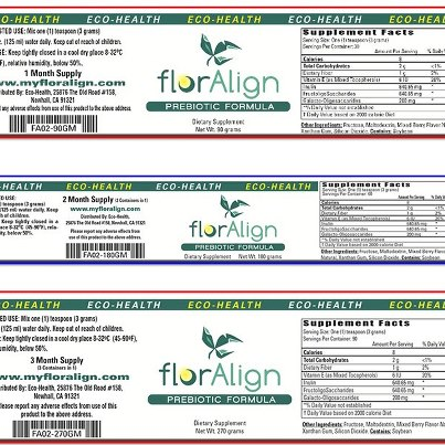 Photo: Eco Health, Inc Recalls Product Because of Possible Salmonella Health Risk http://go.usa.gov/rdqQ  ECO HEALTH, INC of Chatsworth, CA is recalling its florAlign PREBIOTIC FORMULA (POWDER) in the following quantities; 60 units of the 90 gram PREBIOTIC FORMULA (powder), 40 units of the 180 gram PREBIOTIC FORMULA (powder) and 174 units of the 270 gram PREBIOTIC FORMULA (powder). This PREBIOTIC FORMULA was marketed under the name florAlign PREBIOTIC FORMULA. Concern is possible Salmonella contamination.