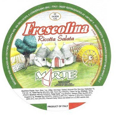 Photo: Forever Cheese Recalls Ricotta Salata Frescolina Brand for Possible Listeria  http://go.usa.gov/rfcT  Forever Cheese inc. is recalling all Ricotta Salata Frescolina brand, Forever Cheese lot # T9425 and/or production code 441202, from one specific production date due to possible Listeria Monocytogenes contamination, an organism which can cause serious and sometimes fatal infections in young children, frail or elderly people, and others with weakened immune systems. Although healthy individuals may suffer only short-term symptoms such as high fever, severe headache, stiffness, nausea, abdominal pain and diarrhea, Listeria infection can cause miscarriages and stillbirths among pregnant women.