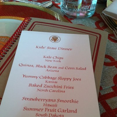 Photo: The Kids' State Dinner menu: Made deliciously by the White House chefs. Thank you again for hosting us!