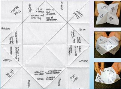 Photo: Have you ever tried to predict the future? Making a paper fortuneteller is a cool way to help others see the possible side effects of  prescription drug abuse. Download and print it here: http://1.usa.gov/MImxZk