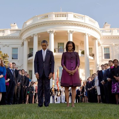 Photo: Photo: President Barack Obama, First Lady Michelle Obama and White House staff gather on the South Lawn of the White House to observe a moment of silence to mark the 11th anniversary of the 9/11 attacks, Sept. 11, 2012.  (Official White House Photo by Chuck Kennedy) http://wh.gov/WrlO
